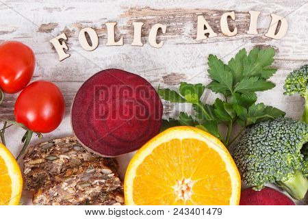 Inscription Folic Acid With Nutritious Products Containing Vitamin B9, Natural Sources Of Minerals A