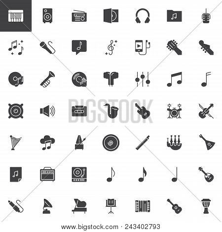 Music Instruments Vector Icons Set, Modern Solid Symbol Collection, Filled Style Pictogram Pack. Sig