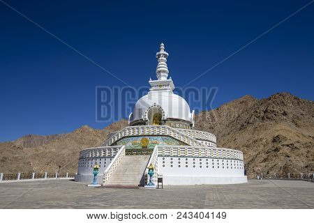 View Of Tall Shanti Stupa With Beautiful Blue Sky, The Big Stupa In Leh And One From The Best Buddhi