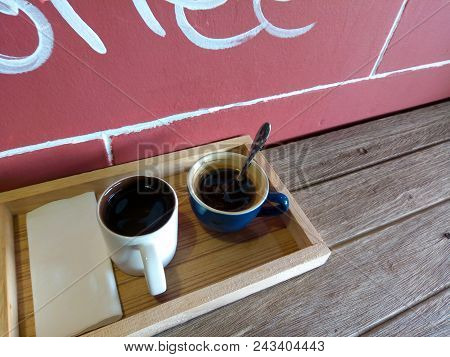 Coffee Break Business. Cup Of Espresso Coffee On Wood Table On Restaurant Coffee House Terrace