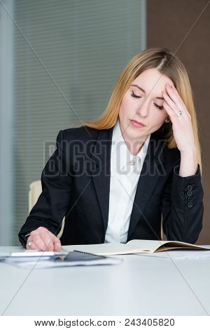 Dull Boring Work. Depressed Sad Business Woman Sitting In Office Working With Papers