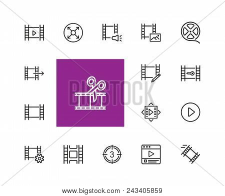 Filmstrip Icons. Set Of  Line Icons. Film Reel, Editing, Multimedia. Filming Concept. Vector Illustr