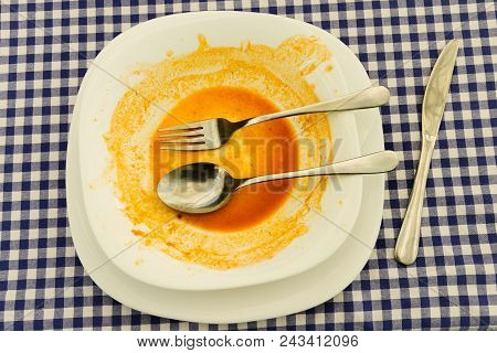Empty Plate After Lunch. Plate After Lunch. Dirty Plate After Lunch. Plate With Food Left Overs. Spo