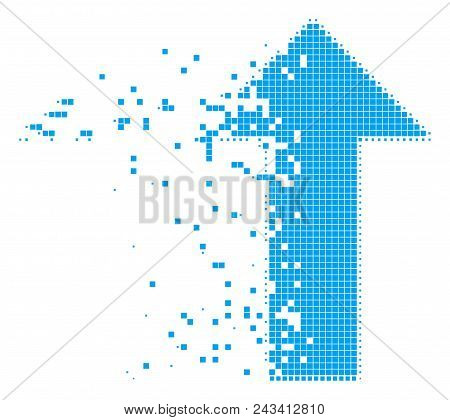 Dispersed arrow dotted vector icon with disintegration effect. Rectangle pieces are grouped into dissolving arrow figure. Pixel defragmentation effect shows speed and movement of cyberspace matter. poster