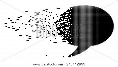 Dispersed balloon dotted vector icon with disintegration effect. Rectangular items are combined into dissolving balloon shape. Pixel dissolution effect shows speed and movement of cyberspace things. poster