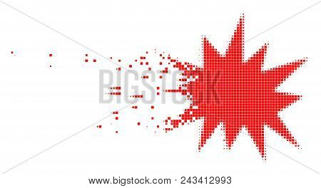 Fractured bang dot vector icon with disintegration effect. Rectangle pieces are arranged into damaging bang figure. Pixel burst effect demonstrates speed and movement of cyberspace matter. poster
