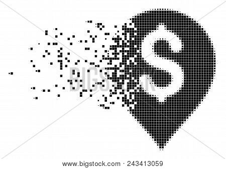Dispersed banking map marker dot vector icon with disintegration effect. Rectangle pieces are composed into dissolving banking map marker shape. poster