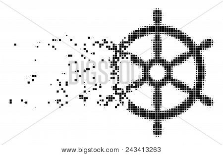 Dissolved boat steering wheel dotted vector icon with disintegration effect. Square elements are arranged into dispersed boat steering wheel form. poster