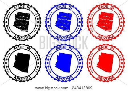 Made In Arizona - Rubber Stamp - Vector, Arizona (united States Of America) Map Pattern - Black, Blu