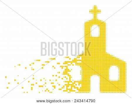 Dissolved Christian church dotted vector icon with disintegration effect. Rectangle pieces are grouped into disappearing Christian church form. poster