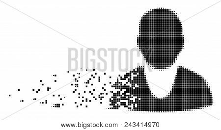 Dissolved client dotted vector icon with disintegration effect. Rectangular fragments are arranged into dissolving client shape. poster