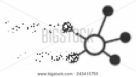 Dissolved connection links dot vector icon with disintegration effect. Rectangular pieces are combined into dissolving connection links shape. poster