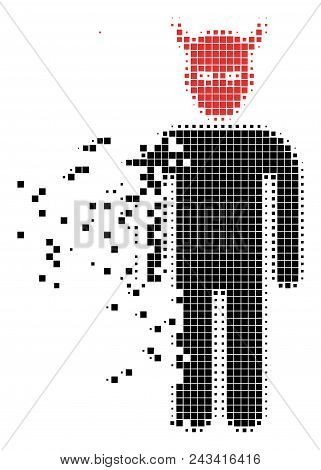 Dispersed Daemon Dotted Vector Icon With Disintegration Effect. Square Pixels Are Arranged Into Diss