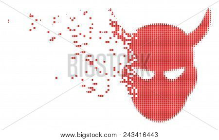 Dissolved daemon head dotted vector icon with disintegration effect. Square pieces are combined into dissipated daemon head shape. poster