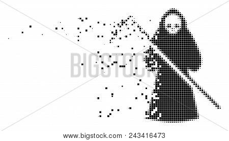 Dissolved death scytheman dot vector icon with disintegration effect. Rectangle cells are composed into dispersed death scytheman shape. poster