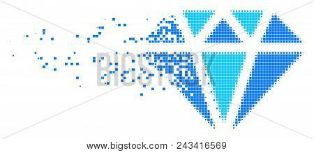 Fractured diamond dotted vector icon with disintegration effect. Square dots are grouped into dispersed diamond form. Pixel disintegration effect shows speed and movement of cyberspace things. poster
