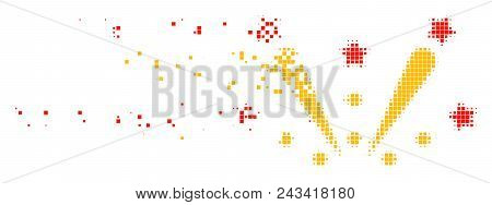 Dissolved fireworks explosion dotted vector icon with disintegration effect. Rectangle points are combined into damaging fireworks explosion figure. poster