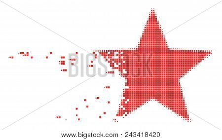 Dispersed five-pointed star dot vector icon with disintegration effect. Rectangle pixels are composed into damaging five-pointed star figure. poster
