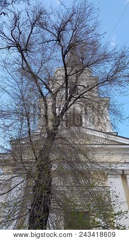 White Cathedral Chapel Behind Dark Branches Of Big Bare Tree. Classic Architecture Building With Blu