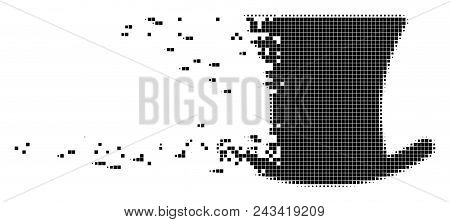 Fractured gentleman hat dotted vector icon with disintegration effect. Rectangular pixels are combined into dissolving gentleman hat shape. poster
