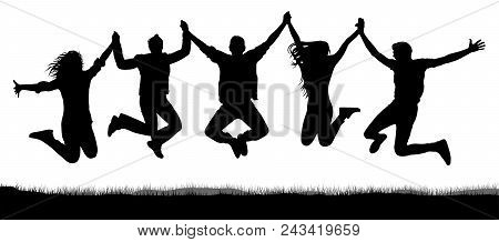 Cheerful Crowd Of Friends Jumping, Holding Hands. People Have Fun Jumping. Silhouette Vector. Youth