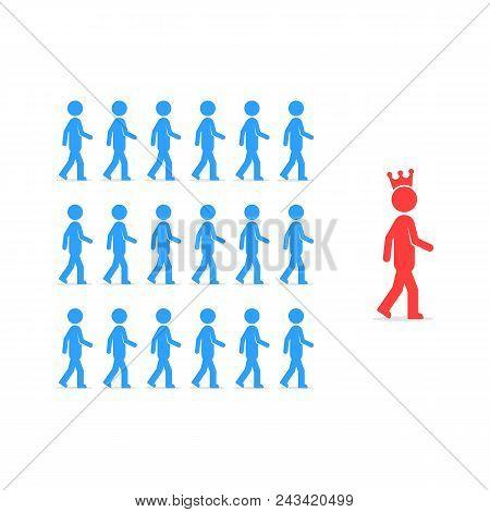 Leadership Like Followers Follow To Person. Simple Flat Trend Modern Unique Logo Graphic Design Illu