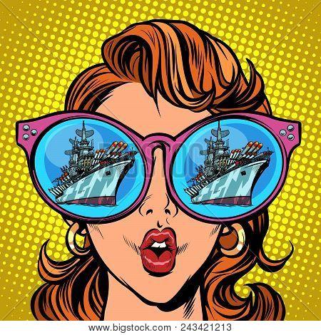 Woman With Sunglasses. Warship Battleship Cruiser In Reflection. Comic Cartoon Pop Art Retro Illustr