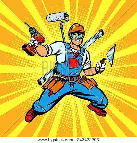 Multi-armed Builder Repairman. Comic Cartoon Pop Art Retro Vector Illustration Kitsch Vintage Drawin