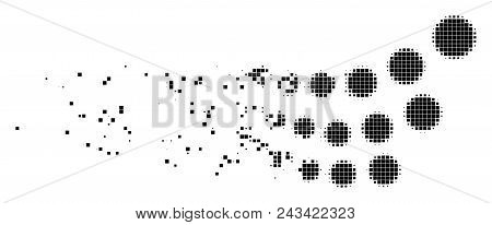 Dispersed Object Stream Dotted Vector Icon With Disintegration Effect. Rectangle Pieces Are Arranged