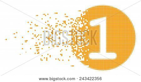 Dispersed One Coin Dotted Vector Icon With Disintegration Effect. Rectangular Pieces Are Arranged In