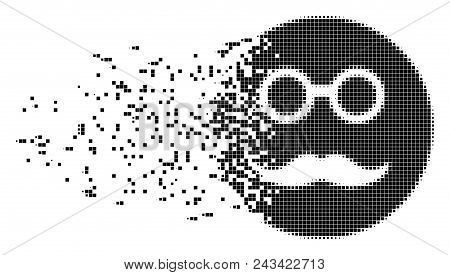 Dissolved Pension Smiley Dot Vector Icon With Disintegration Effect. Square Elements Are Grouped Int