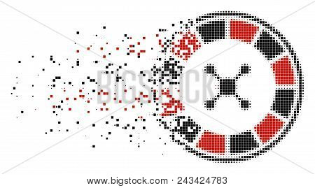 Fractured Roulette Dot Vector Icon With Disintegration Effect. Rectangular Cells Are Composed Into D