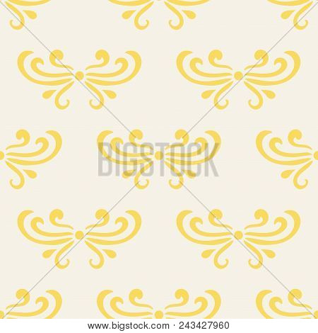 Colorful Yellow And Beige Abstract Damask Seamless Pattern Of Curls In Retro Style. Floral Vintage B
