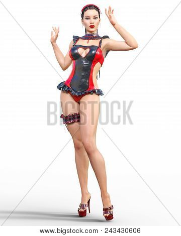 3d Beautiful Sexy Brunette Girl Red Black Latex Corset.minimalist Extravagant Clothes Future.woman S