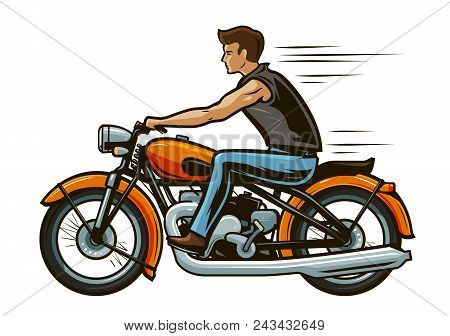 Biker Rides A Motorcycle. Motorbike, Transport Concept. Cartoon Vector Illustration Isolated On Whit