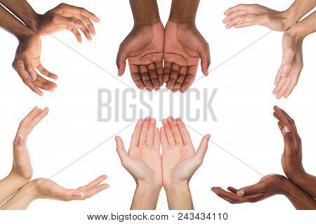 Black And White Hands Holding Or Offering Something, Isolated On White Background. Open Palms Of Mul