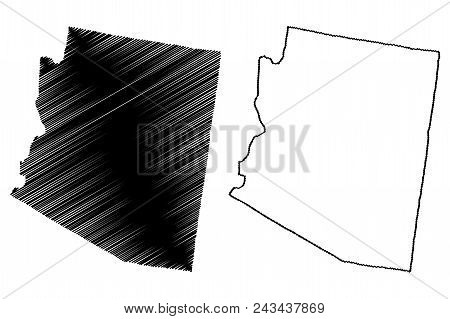 Arizona Map Vector Illustration, Scribble Sketch Arizona Map
