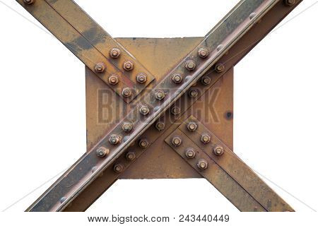 A Strong Steel Beams Structure Of A Railway Bridge With Nuts And Bolts, Screw Steel Railway Bridges