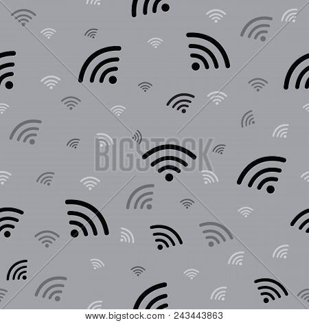Wifi Sign Seamless Gray Background . Wi-fi Symbol. Wifi Zone. Vector Illustration Eps 10