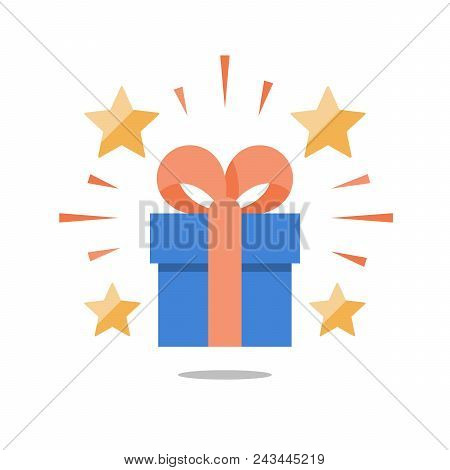 Shining Gift With Stars, Present Box With Ribbon, Surprising Big Gift, Reward Program, Special Prize