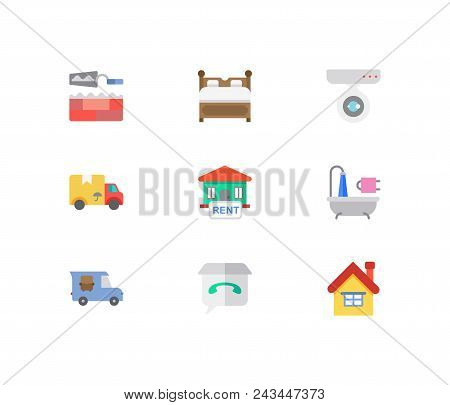 Real Estate Icons Set. House For Rent And Real Estate Icons With Surveillance Service, Bed And Home