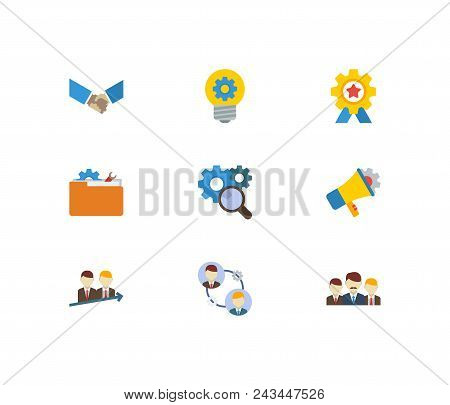 Technology Partnership Icons Set. Successful Partnership And Technology Partnership Icons With Techn