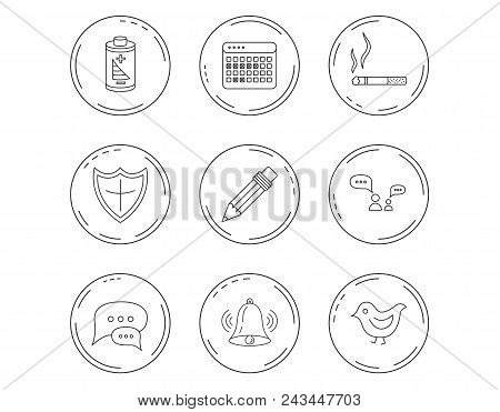 Battery, Pencil And Protection Shield Icons. Dialog Chat, Bell Rings And Vacation Calendar Linear Si