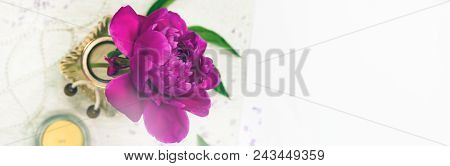 Spa Theme Objects With Fresh Peony Flowers Panoramic Image. Selective Focus.