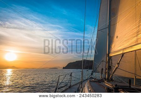 Peaceful Scene On The Sea With Beautiful Sky And Sail Boat