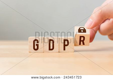 Hand Flip Wood Cube Block With Word Gdpr. Concept Legal Eu Protect Information General Data Protecti