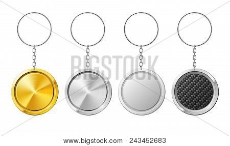 Realistic Isolated Steel Circle 3d Key Ring Template. Plastic Keychain With Carbon Silver Gold Metal