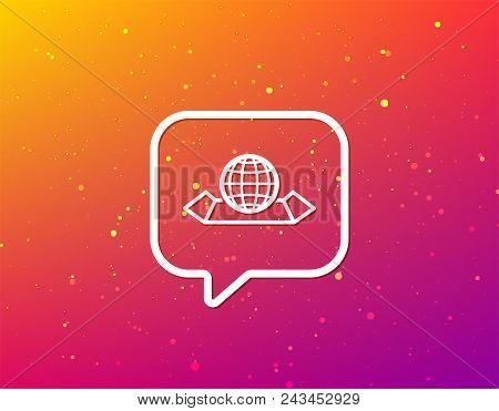 World Map Icon. Globe Sign. Travel Location Symbol. Soft Color Gradient Background. Speech Bubble Wi