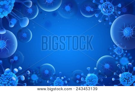 Bacteria Blue Background. Virus Microorganisms Silhouette. Medicine Safety Preventative Doctor Bacte