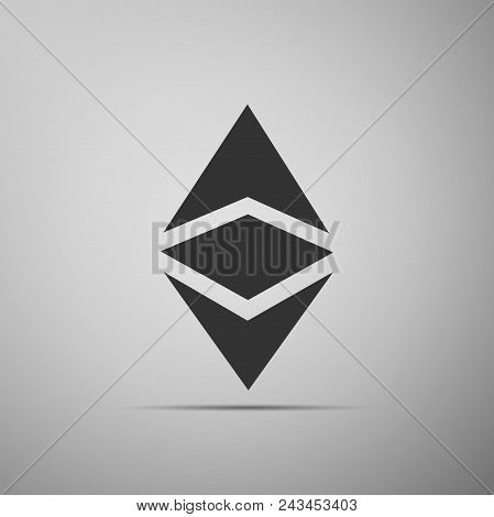 Cryptocurrency Coin Ethereum Classic Etc Icon Isolated On Grey Background. Physical Bit Coin. Digita